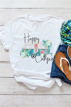 Picture of Watercolor Happy Camper V-Neck Graphic Tee