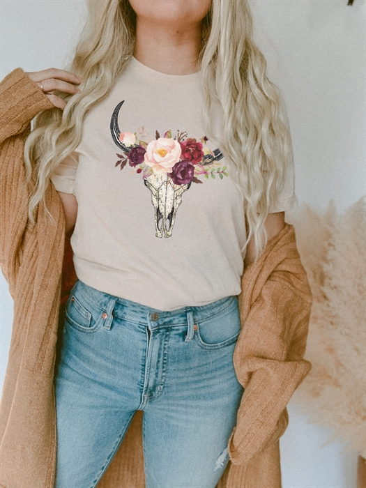 Picture of Floral Bull Skull Graphic Tee