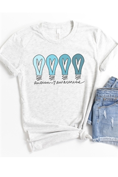 Picture of Autism Awareness Blue Bulbs Graphic Tee
