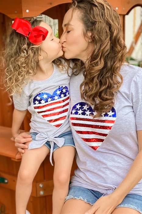 Picture of Mommy & Me  Sequin Flag Heart Top