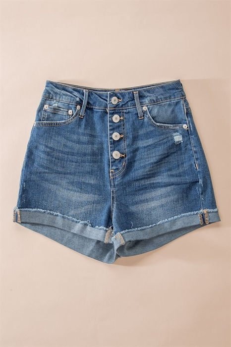 Picture of Folded Hem Button Down Shorts