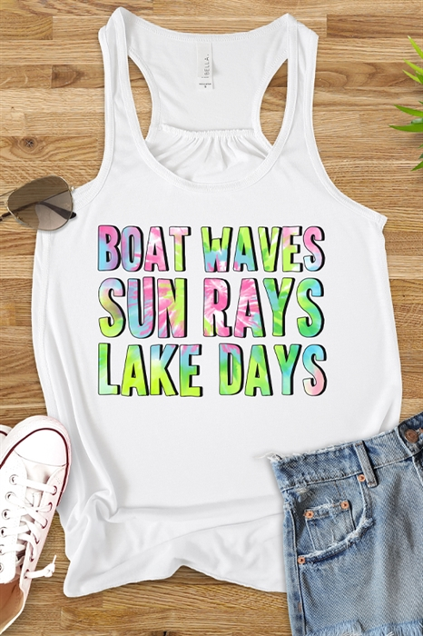 Picture of Boat Waves Sun Rays Flowy Graphic Tank