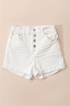 Picture of Folded Hem Button Down Shorts   White
