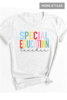 Picture of Back To School Staff Rainbow Bold Text Graphic Tee