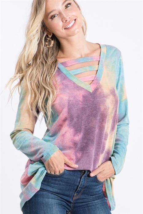 Picture of V-Neck Criss Cross Tie Dye Top