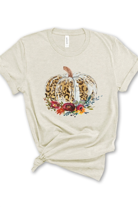 Picture of Distressed Floral Pumpkin Graphic Tee
